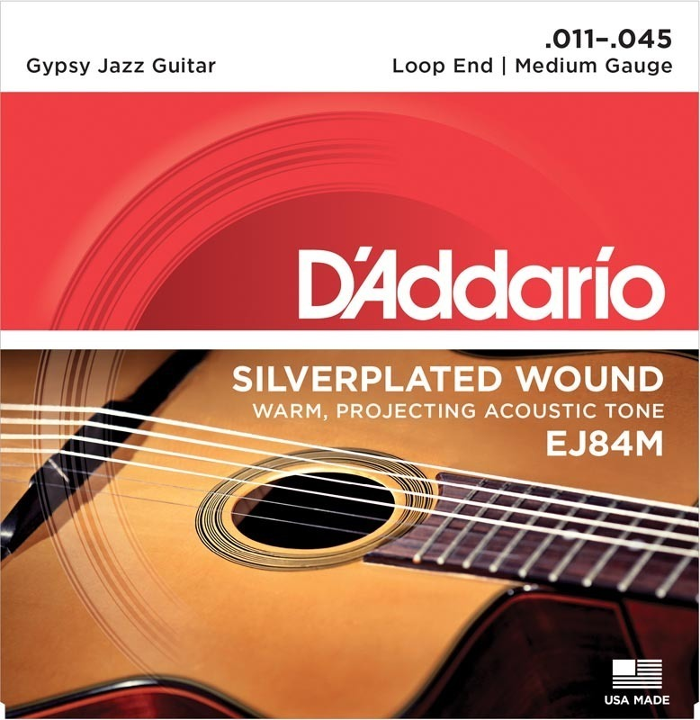 D'Addario EJ84M Gypsy Jazz Acoustic Guitar Strings, Loop End, Medium, 11-45