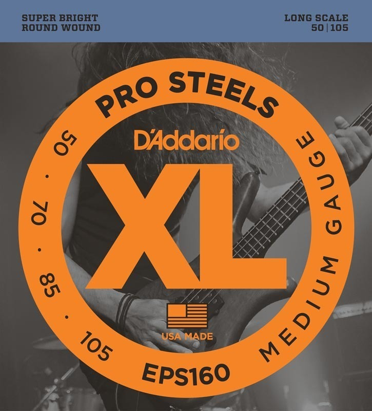 D'Addario EPS160 ProSteels Bass Guitar Strings, Medium, 50-105, Long Scale