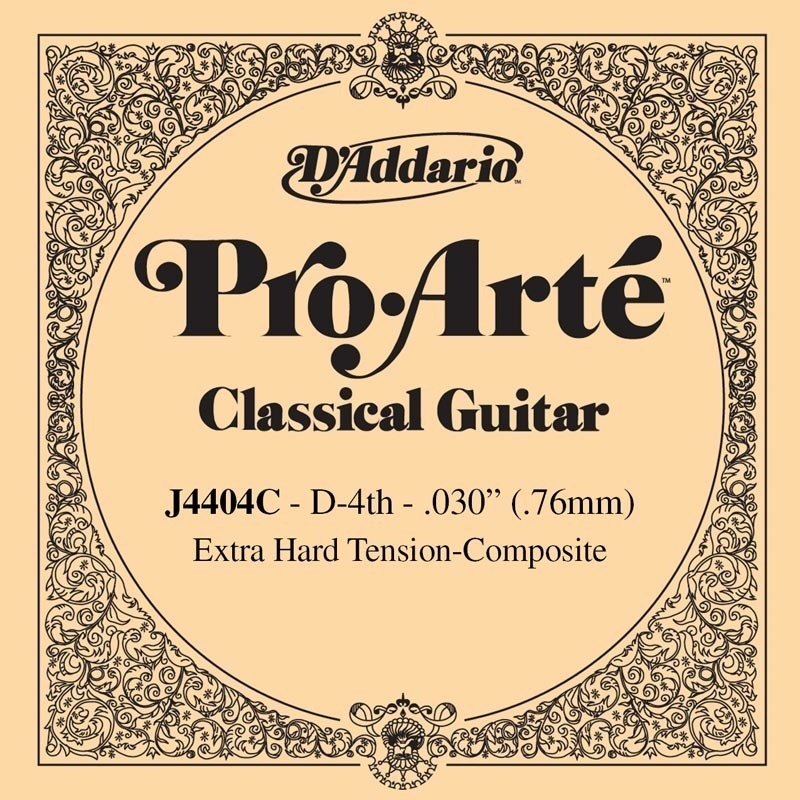 D'Addario J4404C Pro-Arte Composite Classical Guitar Single String, Extra-Hard Tension, Fourth String