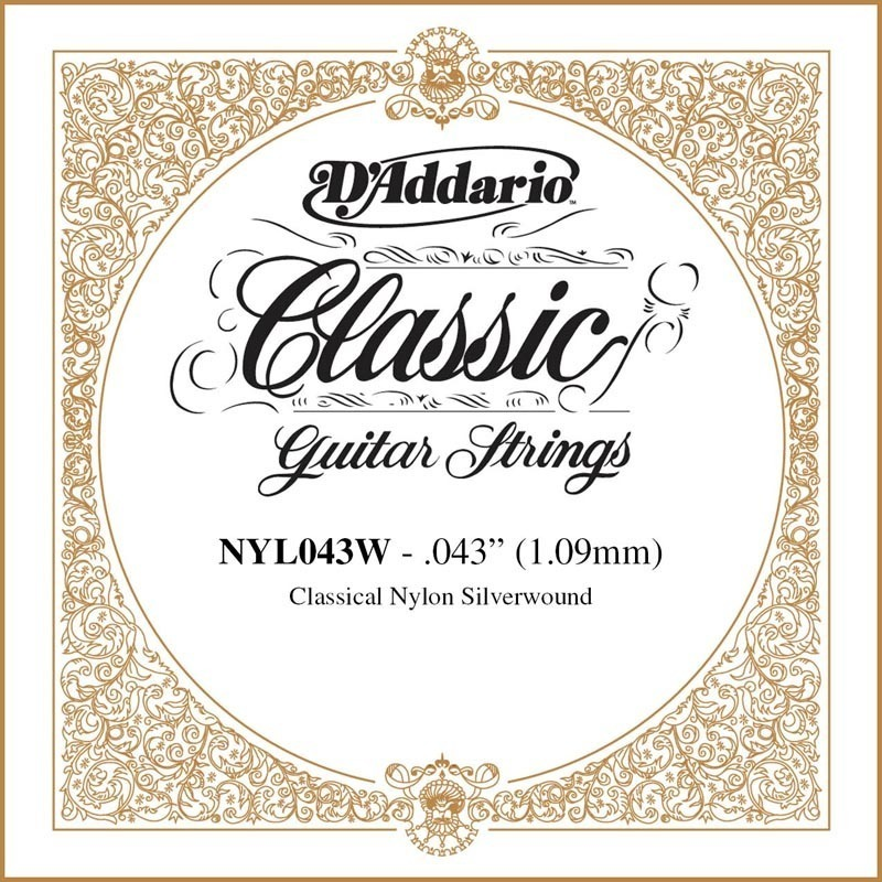 D'Addario NYL043W Silver-plated Copper Classical Single String, .043