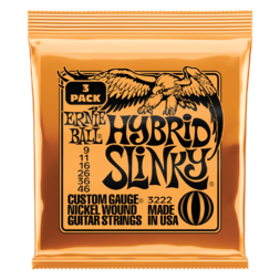 Ernie Ball Electric Guitar String Set 09/46 Hybrid Slinky Pack of 3 image