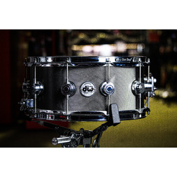 "DW 6.5x14"" Collector's Knurled Black Nickel over Steel Snare Drum w/ Chrome Hardware image"