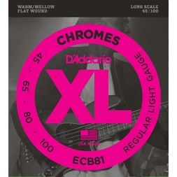 D'Addario ECB81 Chromes Bass Guitar Strings, Light, 45-100, Long Scale image