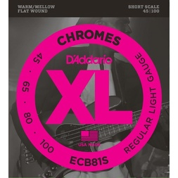D'Addario ECB81S Chromes Bass Guitar Strings, Light, 45-100, Short Scale image