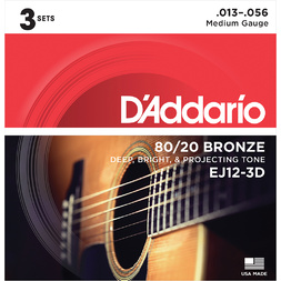 D'Addario 3-Pack Acoustic Guitar 80/20 Bronze Medium image
