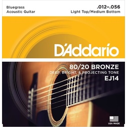 D'Addario EJ14 80/20 Bronze Acoustic Guitar Strings, Light Top/Medium Bottom/Bluegrass, 12-56 image