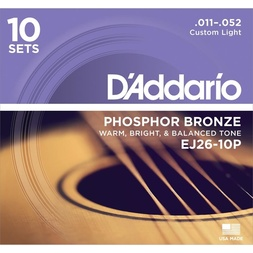 D'Addario EJ26-10P Phosphor Bronze Acoustic Guitar Strings, Custom Light, 11-52, 10 Sets image