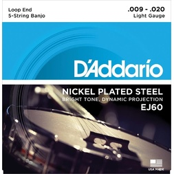 D'Addario EJ60 5-String Banjo Strings, Nickel, Light, 9-20 image