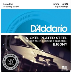 D'Addario EJ60NY 5-String Banjo Strings, NY Steel, Light 9-20 image
