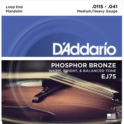 D'Addario EJ75 Mandolin Strings, Phosphor Bronze, Medium/Heavy, 11.5-41 image