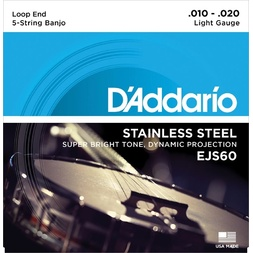 D'Addario EJS60 5-String Banjo Strings, Stainless Steel, Light, 9-20 image