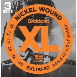 D'Addario EXL110-3D Nickel Wound Electric Guitar Strings, Regular Light, 10-46, 3 Sets image