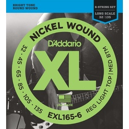 D'Addario EXL165-6 6-String Nickel Wound Bass Guitar Strings, Custom Light, 32-135, Long Scale image