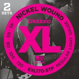 D'Addario EXL170-5TP Nickel Wound Bass Guitar Strings, Light, 45-130, 2 Sets, Long Scale image