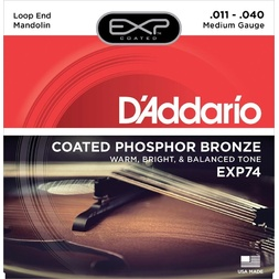 D'Addario EXP74 Coated Phosphor Bronze Mandolin Strings, Medium, 11-40 image