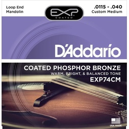 D'Addario EXP74CM Coated Phosphor Bronze Mandolin Strings, Custom Medium, 11.5-40 image