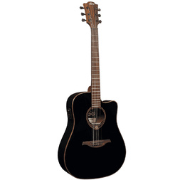LAG T118DCE-BLK Tramontane Electro Cutaway Dreadnought Solid Cedar - Black image