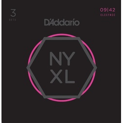 D'Addario NYXL0942-3P Nickel Wound Electric Guitar Strings, Super Light, 9-42, 3 Sets image