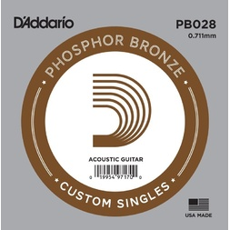 D'Addario PB028 Phosphor Bronze Wound Acoustic Guitar Single String, .028 image