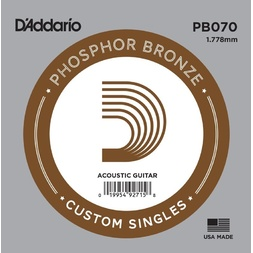 D'Addario PB070 Phosphor Bronze Wound Acoustic Guitar Single String, .070 image