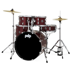 PDP Centerstage 5 Piece Drumkit 22 Inch with Hardware and Cymbals Ruby Red Sparkle image