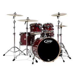 PDP Concept Maple Cherry Stain Gloss 5 Piece Drum Kit with hardware + Stool image