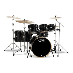 PDP Concept Maple by DW 7-Piece Drum Kit Pearlescent Black  + Meinl HCS Cymbal Pack image