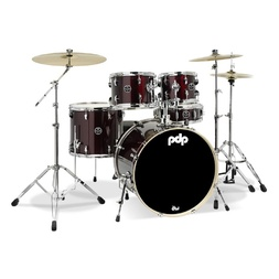 PDP Mainstage 5 Piece Fusion Plus Drum Kit with Hardware and Cymbals - Black Cherry image