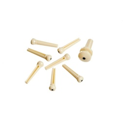 Planet Waves Injected Molded Bridge Pins with End Pin, Set of 7, Ivory with Black Dot image