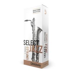 D'Addario Select Jazz Baritone Sax Reeds, Unfiled, Strength 3 Strength Hard, 5-pack image