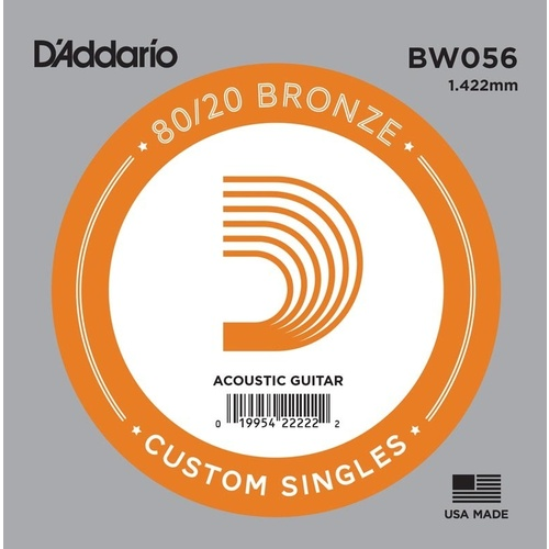 D'Addario BW056 Bronze Wound Acoustic Guitar Single String, .056